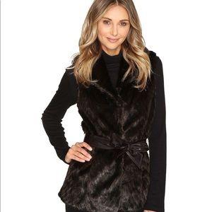 Ellen Tracy Luxe Faux Fur Belted Vest Size S new